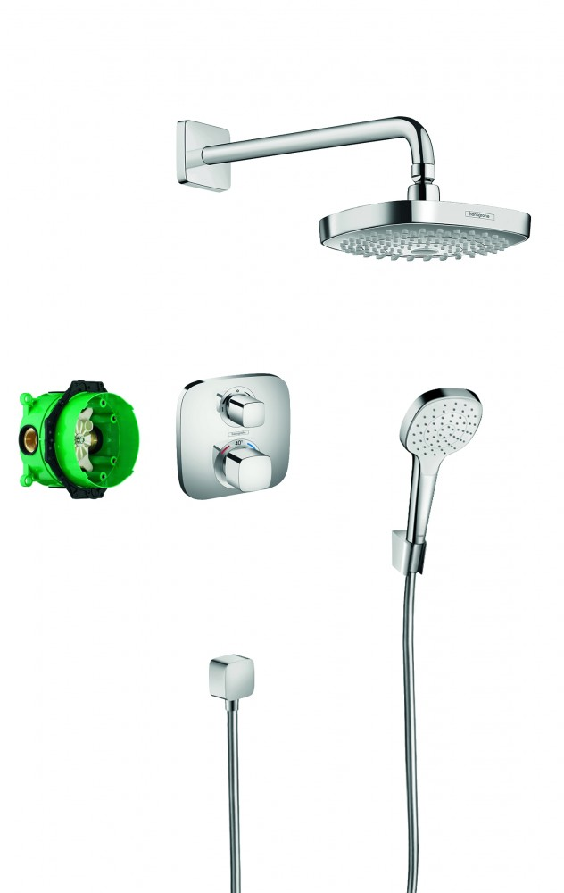 Sistem de dus termostatic Hansgrohe DESIGN CROMA SELECT E / ECOSTAT E, incastrat, crom