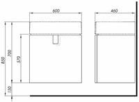 Mobilier suspendat Kolo Twins pentru lavoar 60 cm, negru mat