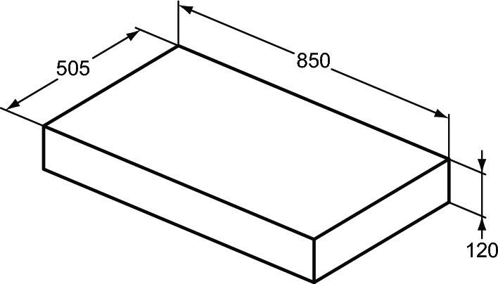 Blat pentru lavoar Ideal Standard Adapto 85 cm, gri pietris
