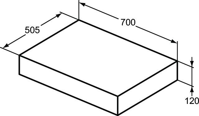 Blat pentru lavoar Ideal Standard Adapto, 70 cm, gri pietris