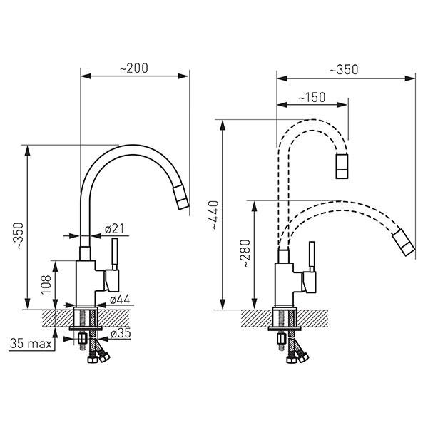 Baterie stativă bucătărie Ferro Zumba  cu pipă flexibilă, alb