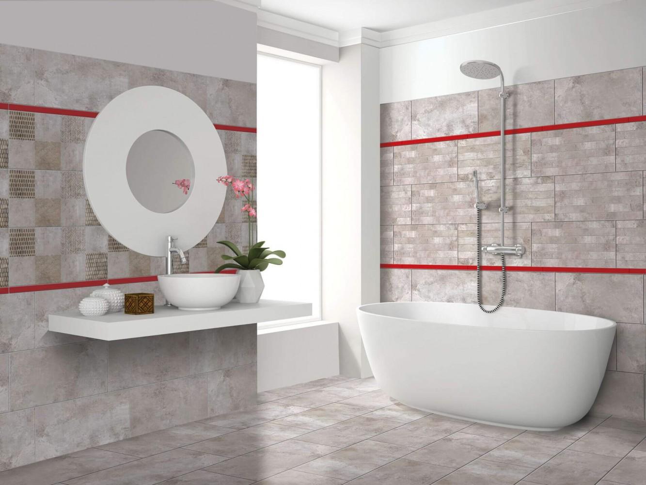 Decor sticla Cesarom® CRUST 2x60 cm, rosu