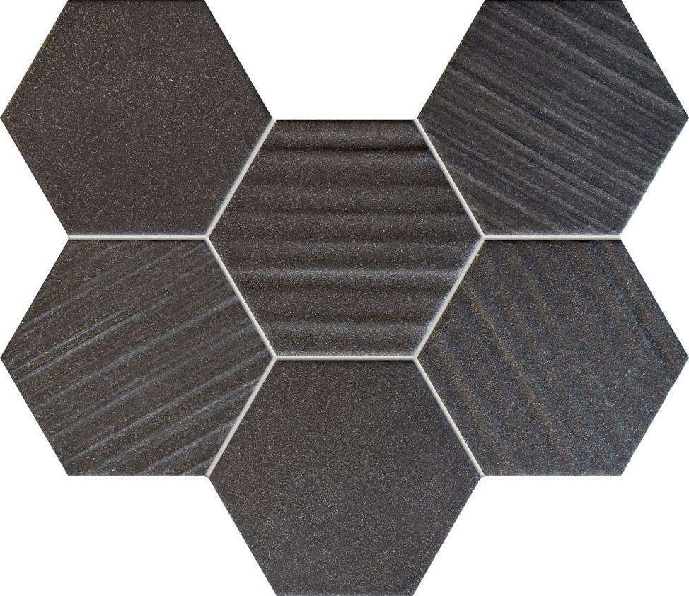 Mozaic Tubadzin Horizon, 28.9x22.1 cm, hexagon negru