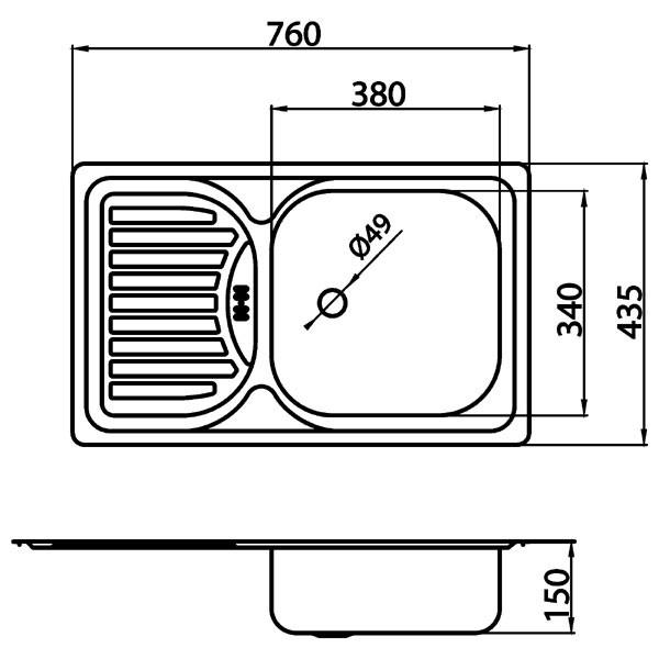 Chiuvetă cu o cuvă 43,5x76 cm, satinat