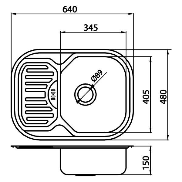 Chiuvetă cu o cuvă 49x77 cm, satinat