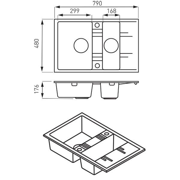 Chiuvetă bucătărie dublă Ferro Mezzo II 79x48 cm, nisip