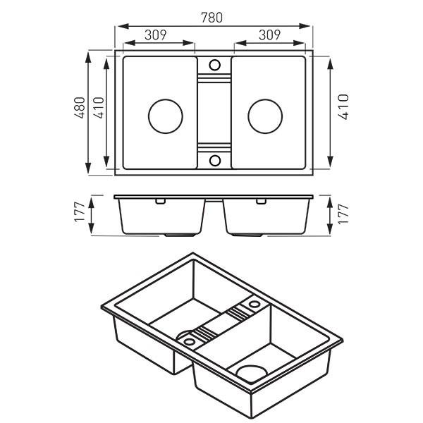 Chiuvetă bucătărie dublă Ferro Mezzo II 78x48 cm, grafit lucios
