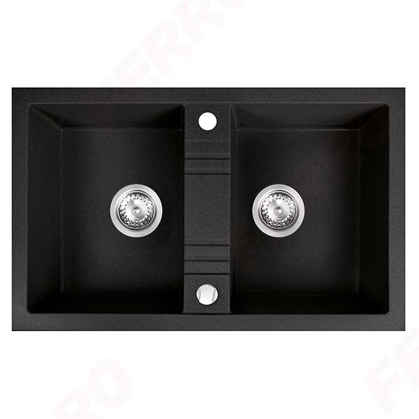 Chiuvetă bucătărie dublă Ferro Mezzo II  78x48 cm, grafit