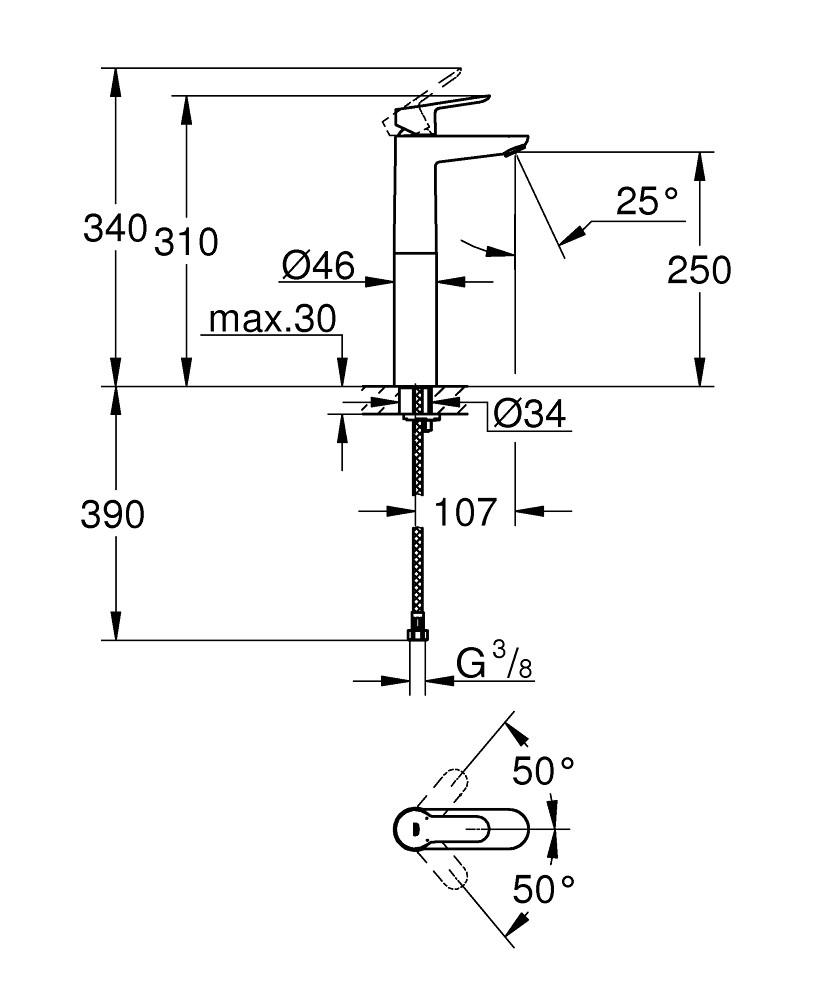 Baterie lavoar Grohe BauEdge XL, pipa inalta, fara ventil