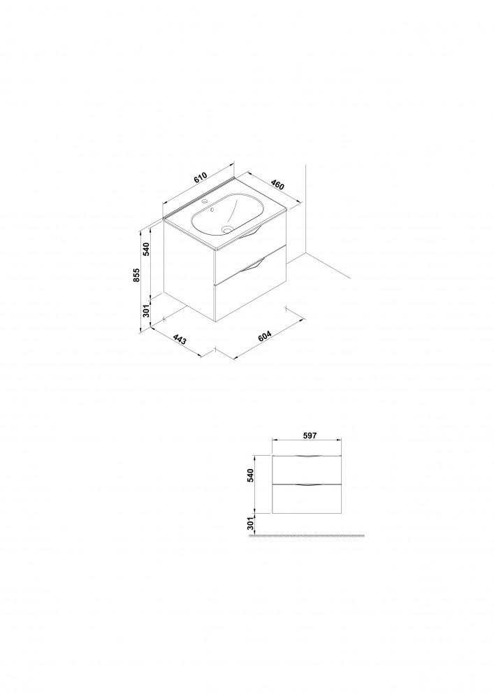 Set mobilier suspendat Gala Agata Mdf  si lavoar Klea 60 cm, gri