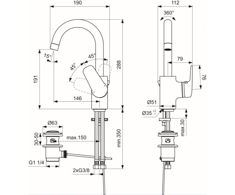Baterie lavoar Ideal Standard Ceraflex, inalta
