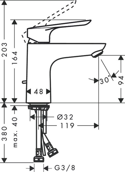 Baterie lavoar Hansgrohe Logis E 100, crom