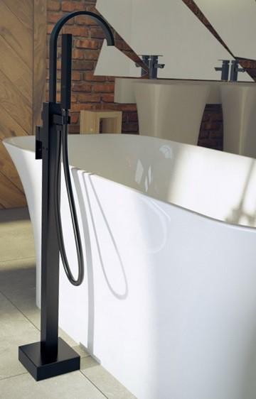 Baterie cada freestanting Besco Modern II, negru mat