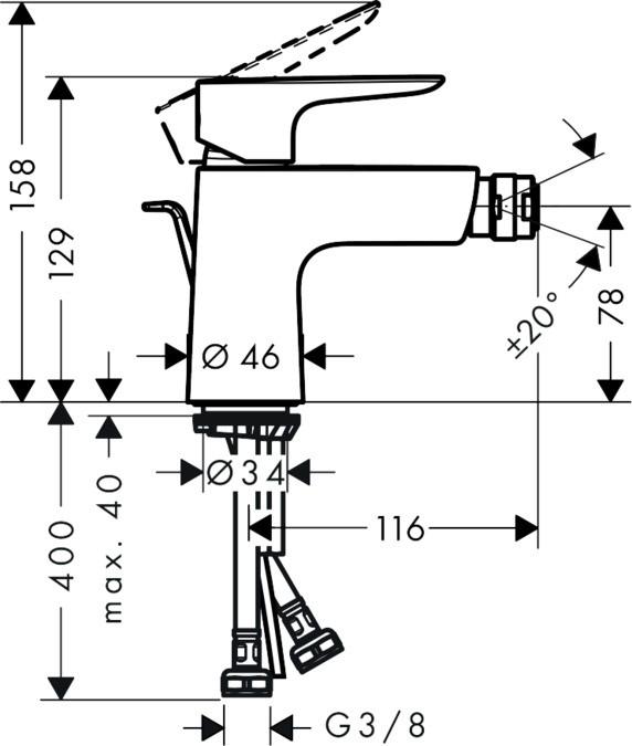 Baterie bideu Hansgrohe Talis E, ventil inclus, crom