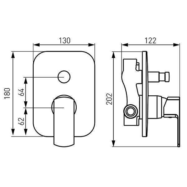 Baterie cada/dus Ferro Alba-VerdeLine - include corp incastrat