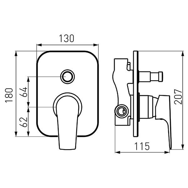 Baterie cada/dus Ferro Tiga-VerdeLine - include corp incastrat