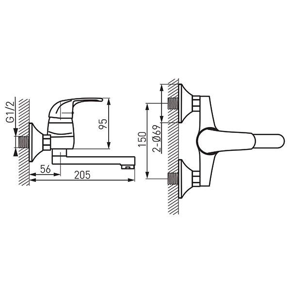 Vasto - baterie lavoar/spălător perete