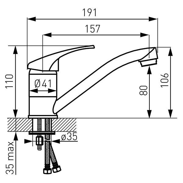Basic - baterie stativă lavoar cu pipă mobilă