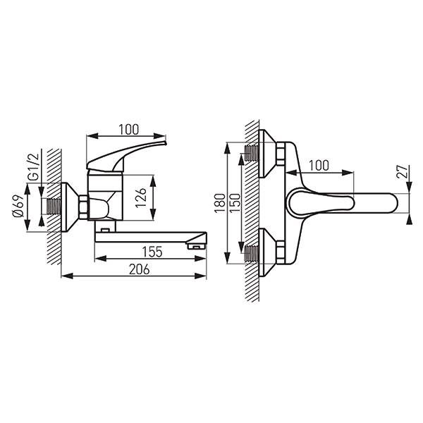Baterie lavoar/bucătărie perete Basic