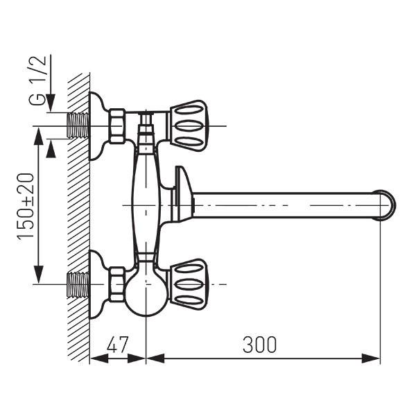 Baterie cadă/duș perete Standard