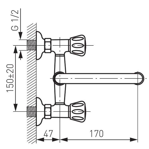 Baterie lavoar/spălător perete Standard
