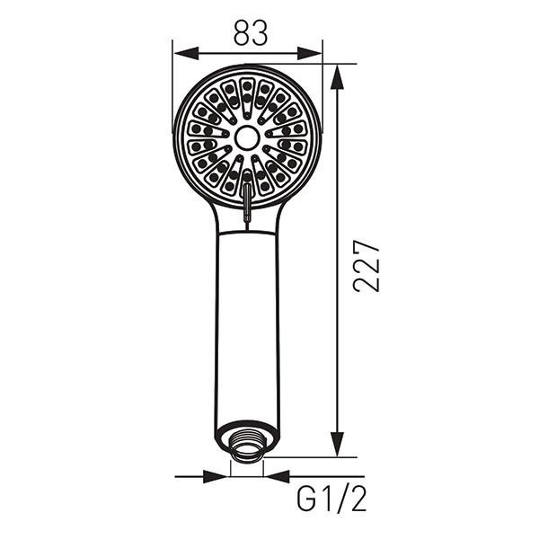 Cortessa - pară duș mobilă cu 3-funcții: