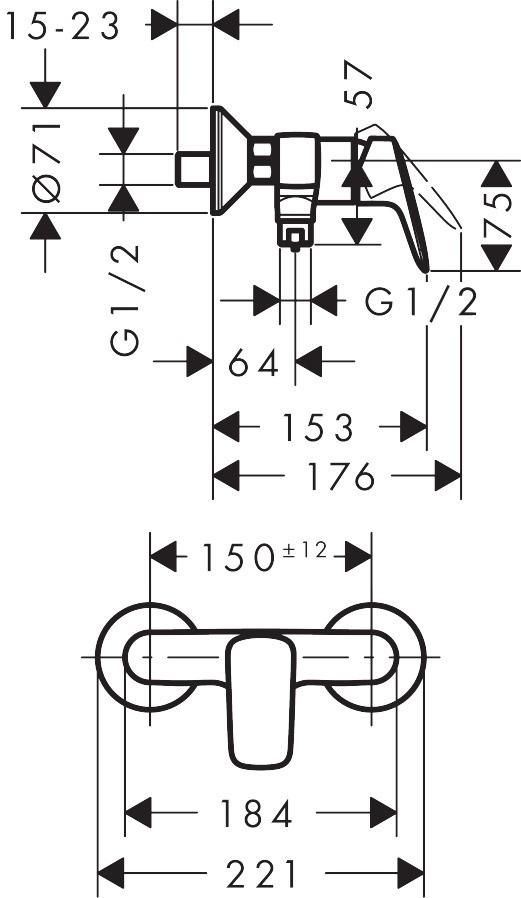 Baterie dus Hansgrohe Logis