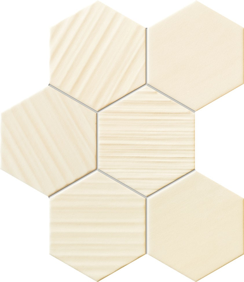 MozaicTubadzin Horizon hexagon, 28.9x22.1 cm, ivoriu
