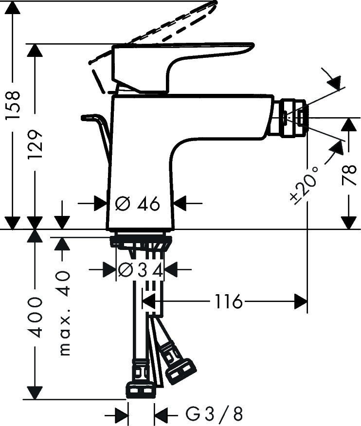 Baterie bideu Hansgrohe Talis E, ventil inclus, negru mat
