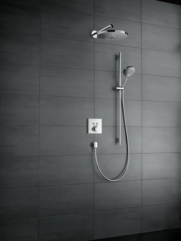 Baterie dus termostatata Hansgrohe  ShowerSelect, negru mat, incastrata