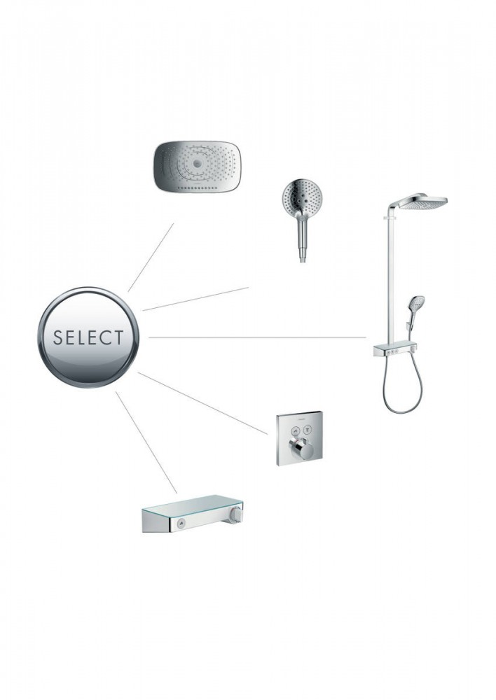 Baterie dus termostatata Hansgrohe  ShowerSelect, alb mat, incastrata