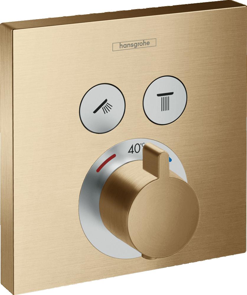 Baterie dus termostatata Hansgrohe ShowerSelect, bronz periat, incastrata
