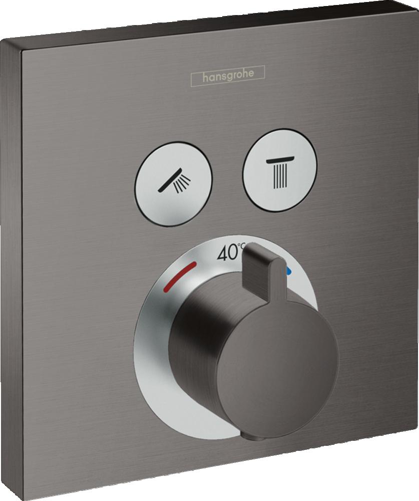 Baterie dus termostatata Hansgrohe ShowerSelect, negru periat, incastrata