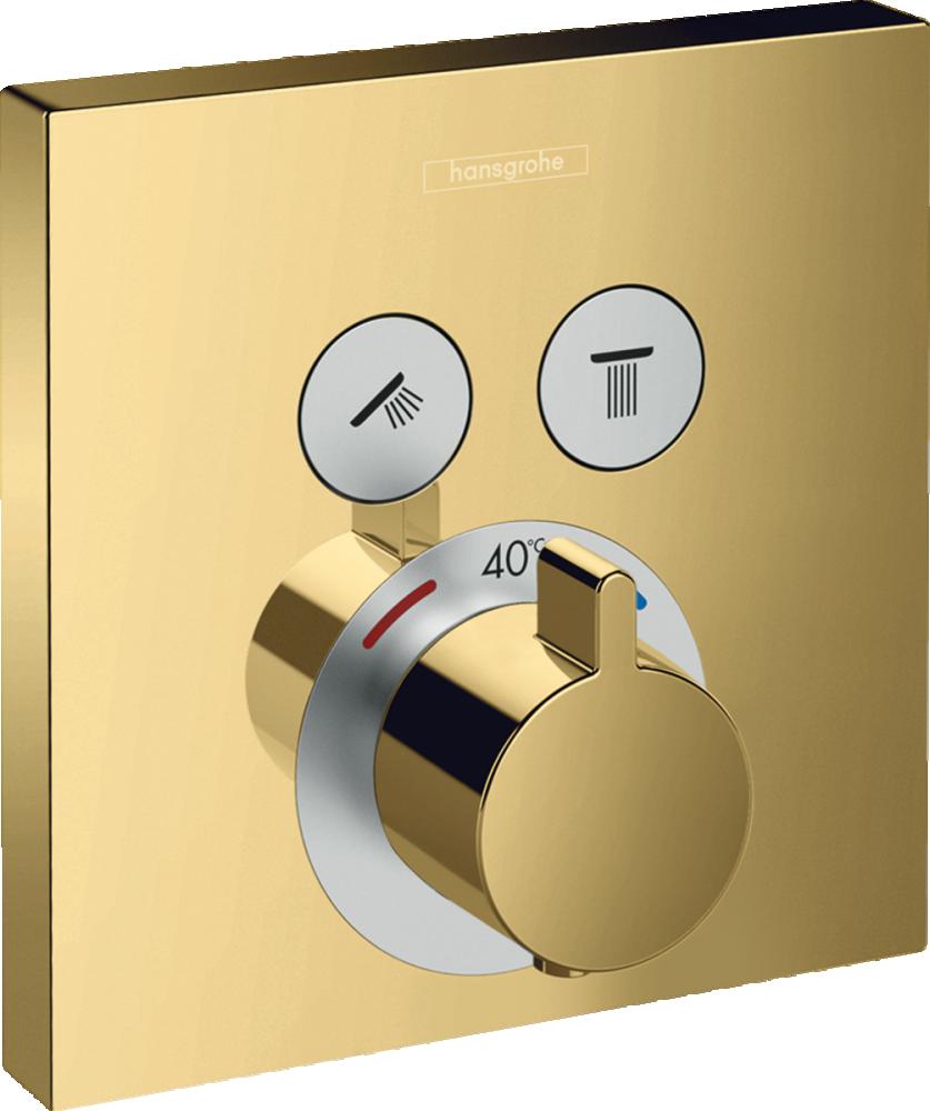 Baterie dus termostatata Hansgrohe ShowerSelect, auriu lucios, incastrata