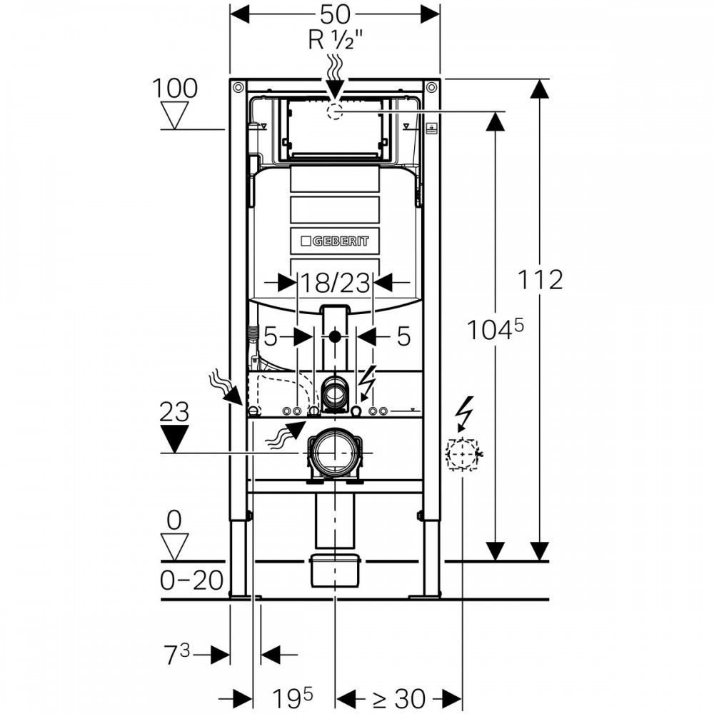 Set rezervor wc incastrat Geberit Duofix Sigma cu set de fixare si set izolare fonica