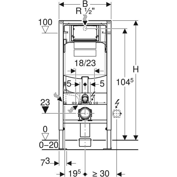 Sistem instalare cu rezervor Geberit Duofix Sigma pt. vas wc suspendat, adancime 12 cm
