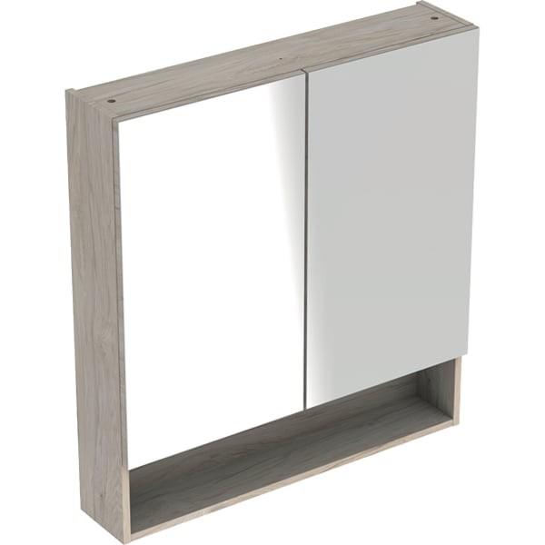Dulap cu oglinda Geberit Selnova Square 2 usi  60 cm,  nuc deschis