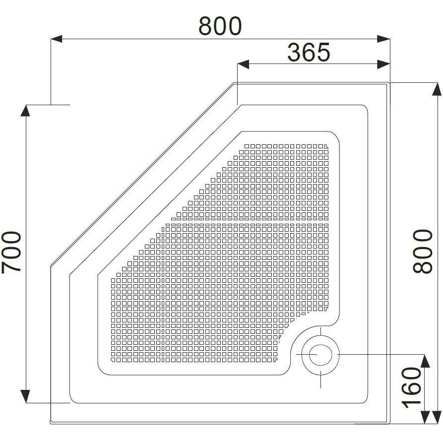 Cadita dus pentagonala Belform Cubo 80x80 cm