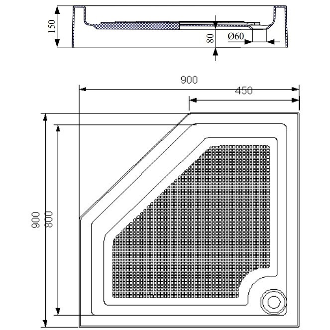 Cadita dus pentagonala Belform Cubo 90x90 cm