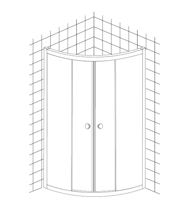 Cabina dus semirotunda Belform Grid 80x80 cm, usa glisanta