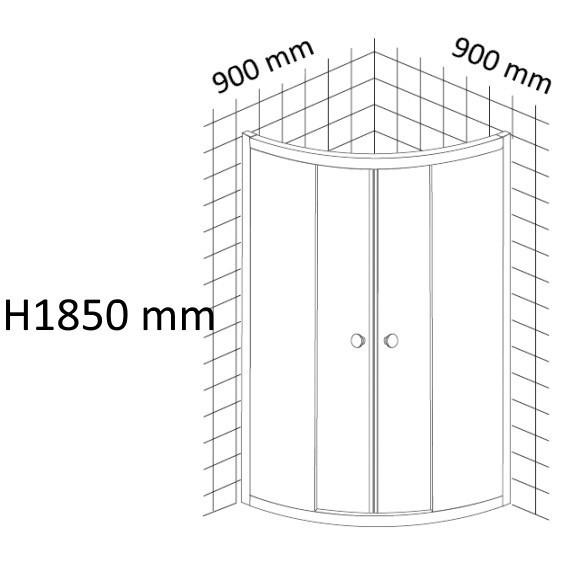 Cabina dus semirotunda Belform Grid 90x90 cm, usa glisanta
