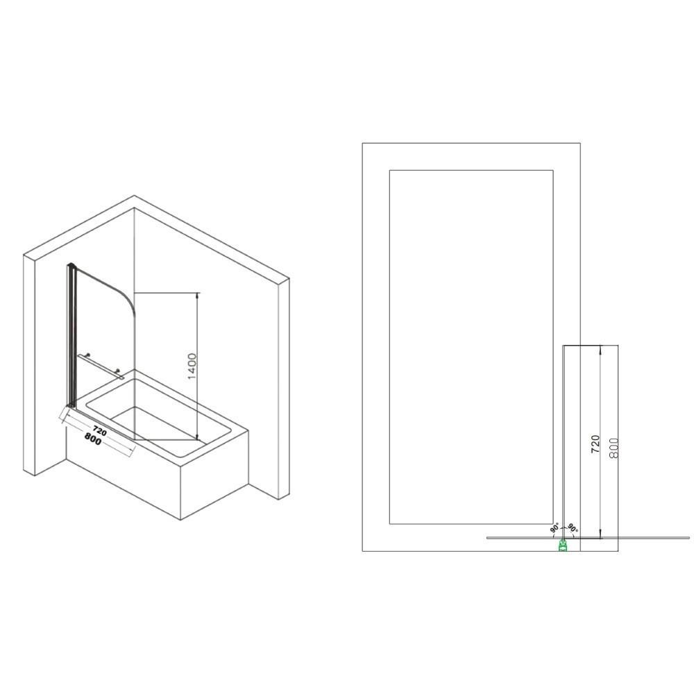 Paravan cada Belform L80xH140, geam transparent