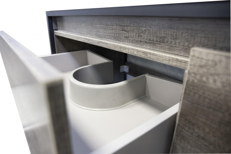 Set mobilier Sanotechnik Soho cu dulap baza cu cadru metalic si lavoar compozit  90x48cm
