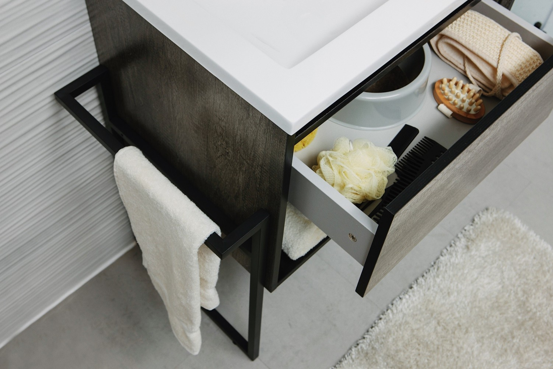 Set mobilier Sanotechnik Soho cu dulap baza suspendat si lavoar compozit 60x48cm