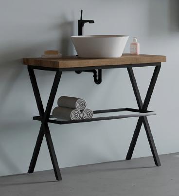 Set mobilier Savini Linea cu suport metalic, blat si oglinda, 80 cm