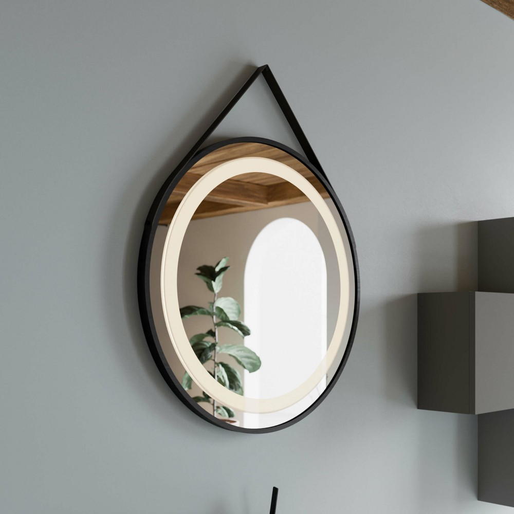Oglinda cu iluminare LED Savini SPR205, cu curea de piele, diam. 60 cm
