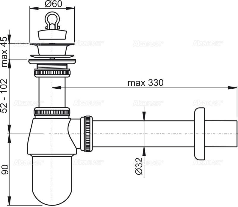 Sifon lavoar Alcaplast A437 DN32