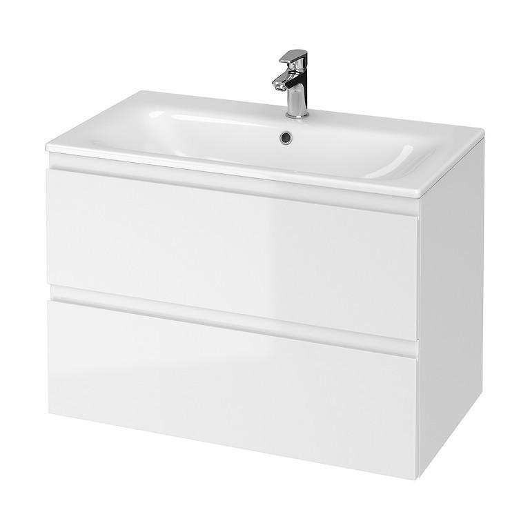 Set mobilier B277 suspendat si lavoar ceramic Cersanit Moduo, 80 cm, alb