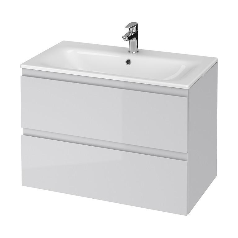 Set mobilier B276 suspendat si lavoar ceramic Cersanit Moduo, 80 cm, gri