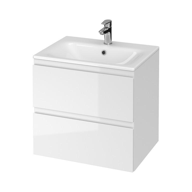 Set mobilier B275 suspendat si lavoar ceramic Cersanit Moduo, 60 cm, alb